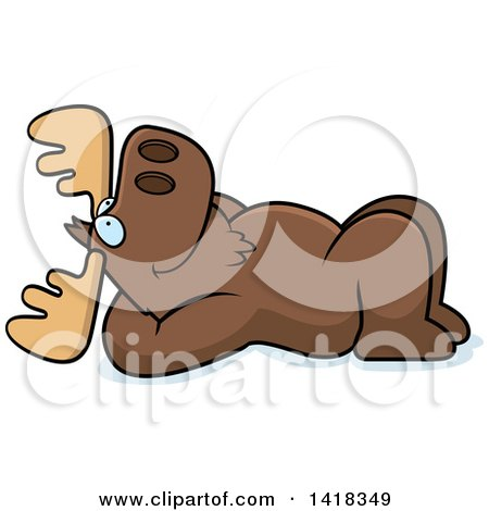 Cartoon Clipart of a Relaxed Moose Resting on His Back and Stargazing - Royalty Free Vector Illustration by Cory Thoman