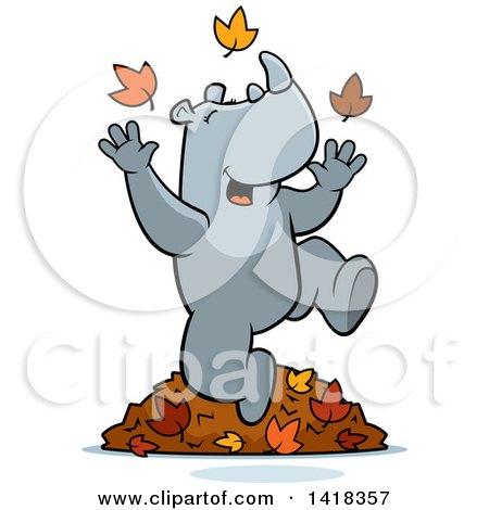 Cartoon Clipart Of A Black And White Big Builder Rhino ...