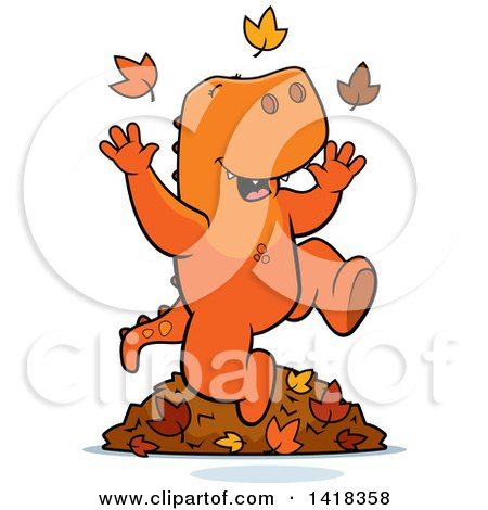 Cartoon Clipart of a Happy Tyrannosaurus Rex Playing in Autumn Leaves - Royalty Free Vector Illustration by Cory Thoman