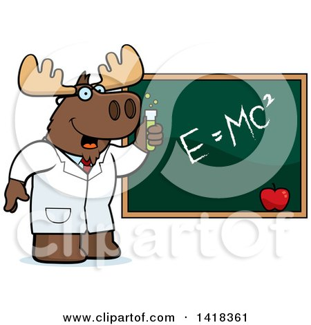 Cartoon Clipart of a Professor or Scientist Moose by a Chalkboard - Royalty Free Vector Illustration by Cory Thoman
