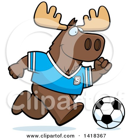 Cartoon Clipart of a Sporty Moose Playing Soccer - Royalty Free Vector Illustration by Cory Thoman