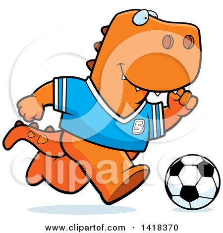Cartoon Clipart of a Sporty Tyrannosaurus Rex Playing Soccer - Royalty Free Vector Illustration by Cory Thoman