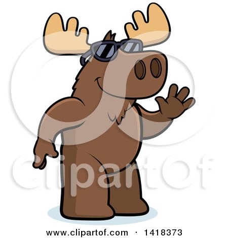 Cartoon Clipart of a Friendly Moose Wearing Sunglasses and Waving - Royalty Free Vector Illustration by Cory Thoman