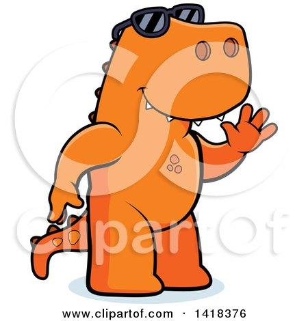 Cartoon Clipart of a Friendly Tyrannosaurus Rex Wearing Sunglasses and Waving - Royalty Free Vector Illustration by Cory Thoman