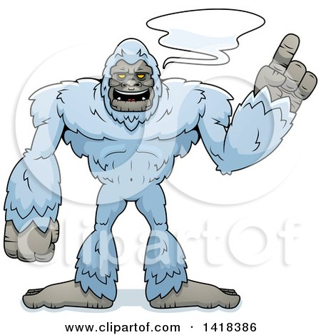Cartoon Clipart of a Yeti Abominable Snowman Holding up a Finger and Talking - Royalty Free Vector Illustration by Cory Thoman
