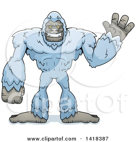 Cartoon Clipart of a Yeti Abominable Snowman Waving - Royalty Free Vector Illustration by Cory Thoman