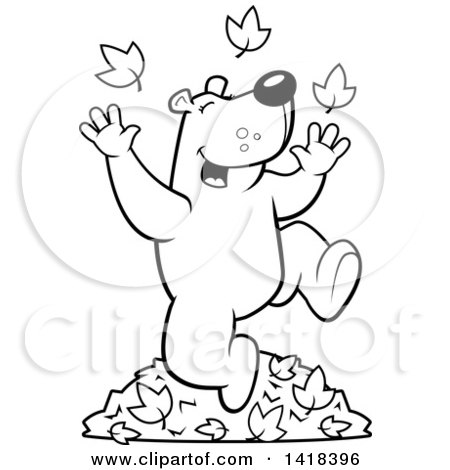 Cartoon Clipart Of A Black And White Lineart Happy Bear Playing In