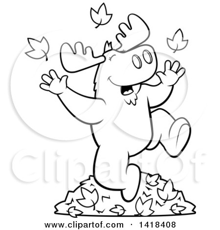 Cartoon Clipart Of A Black And White Lineart Happy Moose Playing In