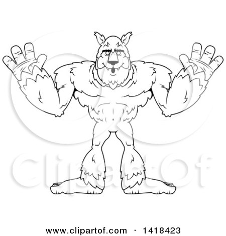 Cartoon Clipart of a Black and White Lineart Werewolf Holding His Hands up - Royalty Free Vector Illustration by Cory Thoman