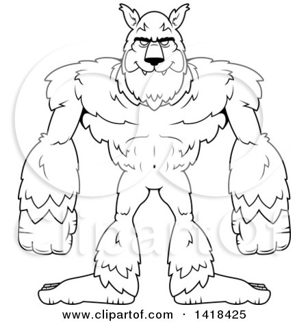 Cartoon Clipart of a Black and White Lineart Werewolf ...