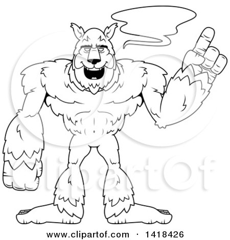 Cartoon Clipart of a Black and White Lineart Werewolf Holding up a Finger and Talking - Royalty Free Vector Illustration by Cory Thoman