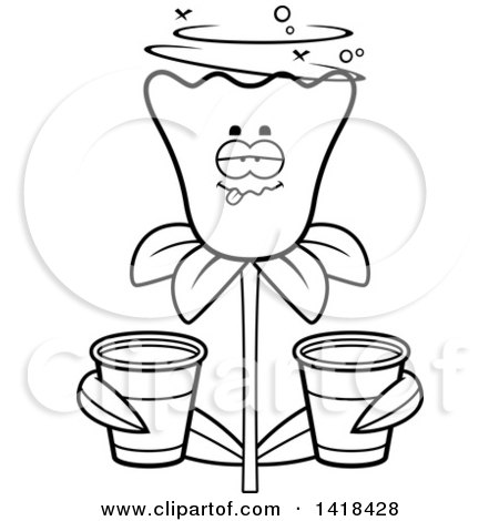 Cartoon Clipart of a Black and White Lineart Drunk Daffodil Flower Holding Cups - Royalty Free Vector Illustration by Cory Thoman