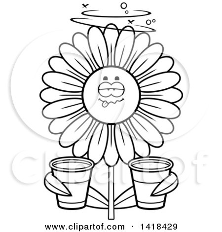 Cartoon Clipart of a Black and White Lineart Drunk Daisy Flower Holding Cups - Royalty Free Vector Illustration by Cory Thoman