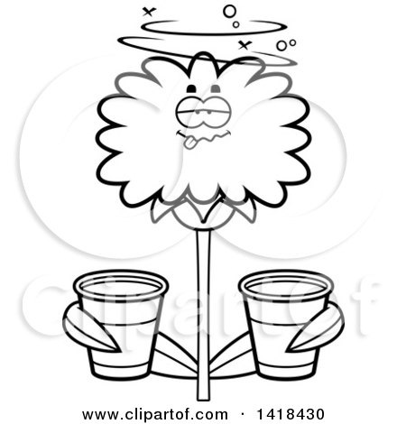Black and White Lineart Drunk Dandelion Flower Holding Cups Posters, Art Prints