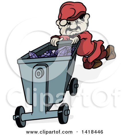Clipart of a Cartoon Miner Gnome Pushing a Cart Full of Amethyst Gems - Royalty Free Vector Illustration by dero