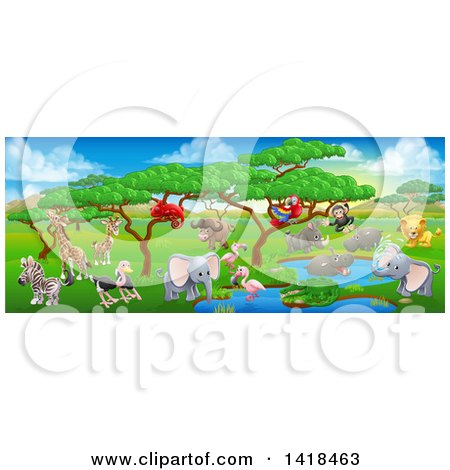 Clipart of a African Safari Landscape with Cute Animals - Royalty Free Vector Illustration by AtStockIllustration