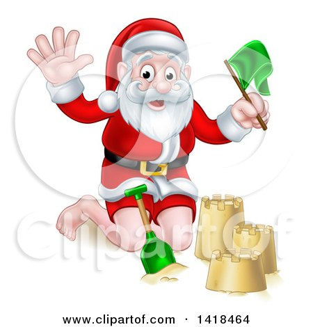 Clipart of a Happy Christmas Santa Claus Making a Sand Castle - Royalty Free Vector Illustration by AtStockIllustration