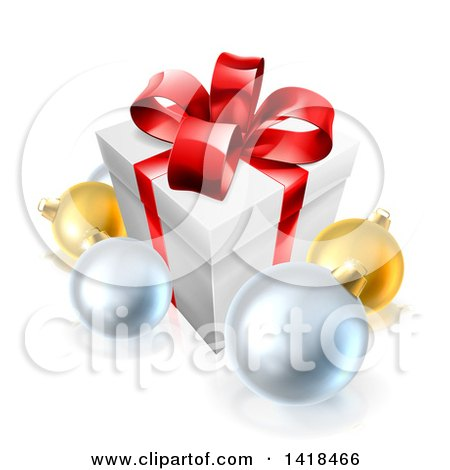 Clipart of a 3d Christmas Gift Box and Baubles - Royalty Free Vector Illustration by AtStockIllustration