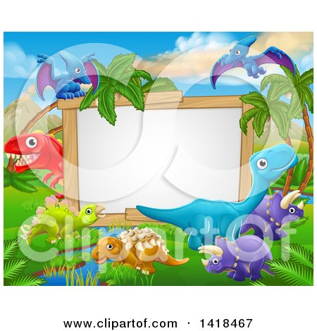 Clipart of a Blank White Sign Framed with Dinosaurs and a Jurassic Landscape - Royalty Free Vector Illustration by AtStockIllustration