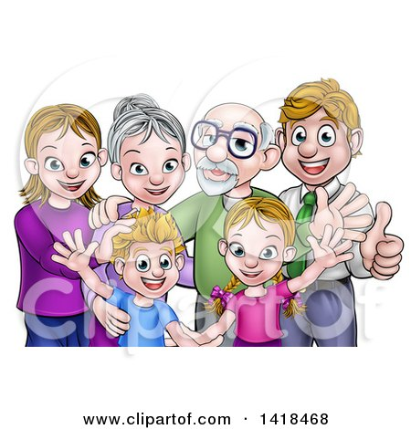 Clipart of a Happy Caucasian Family with Children, Parents and Grandparents Waving and Giving Thumbs up - Royalty Free Vector Illustration by AtStockIllustration
