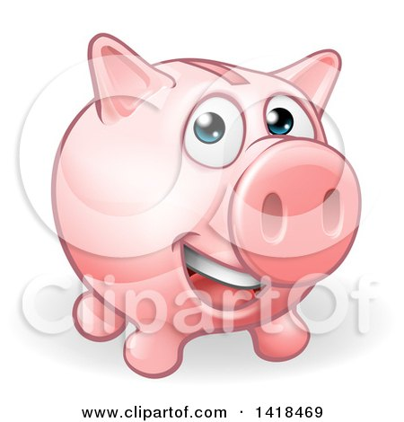 Clipart of a Happy Pink Piggy Bank Character Smiling - Royalty Free Vector Illustration by AtStockIllustration