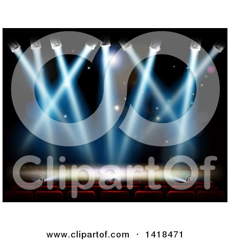 Clipart of Theater Seats Facing a Stage with Lights - Royalty Free Vector Illustration by AtStockIllustration