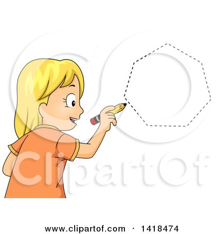 Clipart of a Blond Caucasian School Girl Drawing a Heptagon Shape - Royalty Free Vector Illustration by BNP Design Studio
