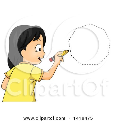 Clipart of a School Girl Drawing a Heptagon or Nonagon Shape - Royalty Free Vector Illustration by BNP Design Studio