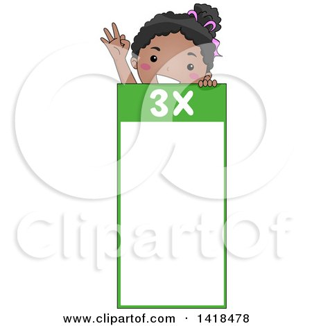 Clipart of a Happy African School Girl over a 3 Times Table - Royalty Free Vector Illustration by BNP Design Studio