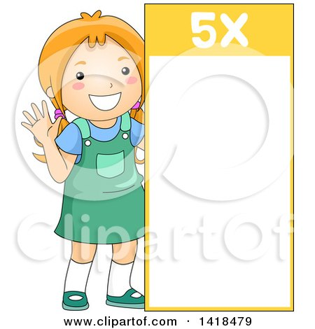 Clipart of a Red Haired Caucasian School Girl Beside a 5 Times Table - Royalty Free Vector Illustration by BNP Design Studio