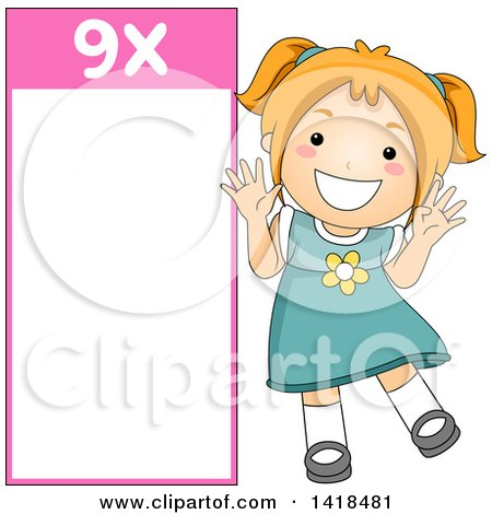 Clipart of a Red Haired Caucasian School Girl Beside a 9 Times Table - Royalty Free Vector Illustration by BNP Design Studio