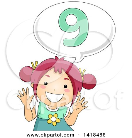 Clipart of a Red Haired Caucasian School Girl Counting and Saying Number 9 - Royalty Free Vector Illustration by BNP Design Studio