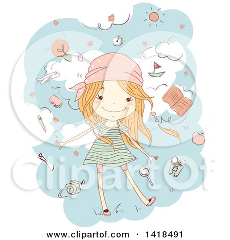 Clipart of a Sketched Red Haired Caucasian Girl Surrounded by Travel Items in the Sky - Royalty Free Vector Illustration by BNP Design Studio
