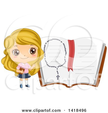 Clipart of a Blond Caucasian Girl by a Giant Open Bible with a Rosary - Royalty Free Vector Illustration by BNP Design Studio