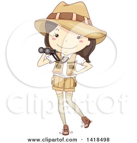 Clipart of a Sketched Safari Girl Holding Binoculars - Royalty Free Vector Illustration by BNP Design Studio