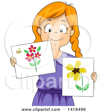 Clipart of a Creative Red Haired Caucasian Girl Showing Artwork from Scrap Materials - Royalty Free Vector Illustration by BNP Design Studio