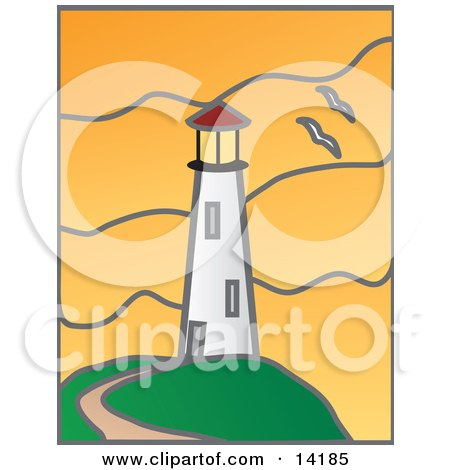 Path Leading To A White Lighthouse And Two Seagulls Flying Past During An Orange Sunset Clipart Illustration by Rasmussen Images