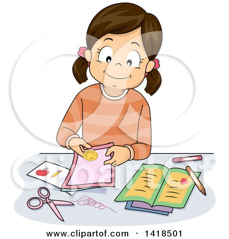 Clipart of a Brunette Caucasian Girl Making Cards - Royalty Free Vector Illustration by BNP Design Studio