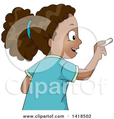 Clipart of a Smart African Girl Writing with Chalk - Royalty Free Vector Illustration by BNP Design Studio