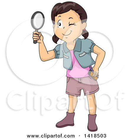 Clipart of a Brunette Caucasian Girl Looking Through a Magnifying Glass - Royalty Free Vector Illustration by BNP Design Studio