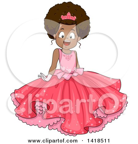 Clipart of a Pretty African American Girl in a Pink Princess Dress - Royalty Free Vector Illustration by BNP Design Studio