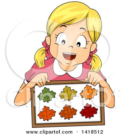 Clipart of a Blond Caucasian Girl Holding a Collection of Framed Leaves - Royalty Free Vector Illustration by BNP Design Studio