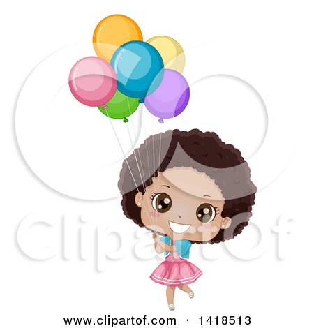 Clipart of a Happy African Girl Holding Colorful Party Balloons - Royalty Free Vector Illustration by BNP Design Studio