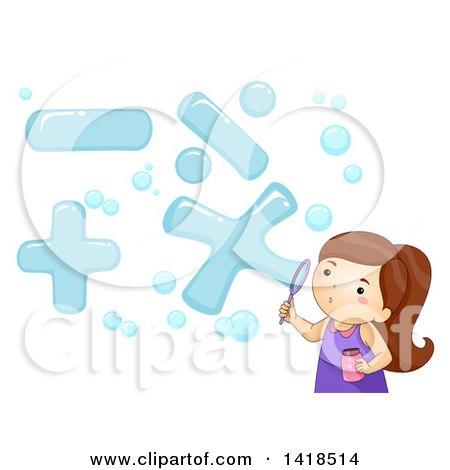 Clipart of a Brunette Caucasian Girl Blowing Math Symbol Bubbles - Royalty Free Vector Illustration by BNP Design Studio
