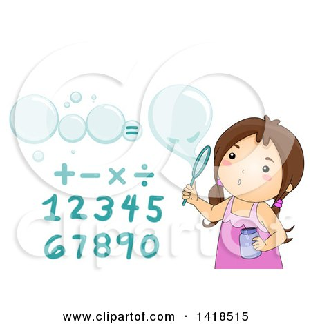 Clipart of a Brunette Caucasian Girl Blowing Math Bubbles - Royalty Free Vector Illustration by BNP Design Studio