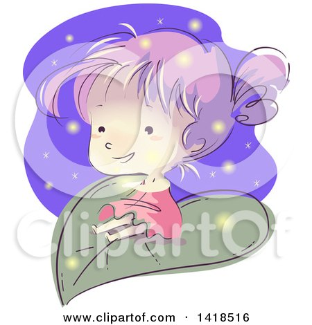Clipart of a Sketched Girl on a Giant Leaf, with Fireflies - Royalty Free Vector Illustration by BNP Design Studio