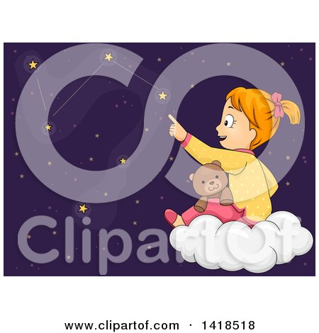 Clipart of a Red Haired Caucasian Girl Sitting with a Teddy Bear on a Cloud and Tracing the Constellations - Royalty Free Vector Illustration by BNP Design Studio