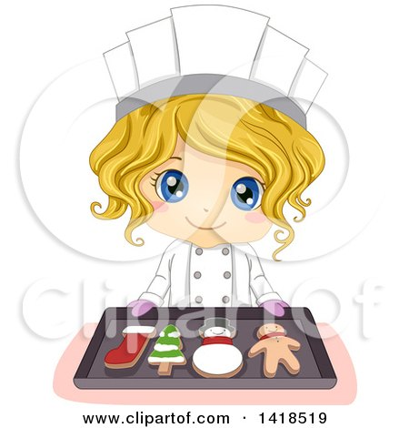 Clipart of a Blond Caucasian Chef Girl Holding a Tray with Christmas Cookies - Royalty Free Vector Illustration by BNP Design Studio