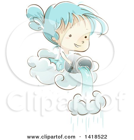 Clipart of a Sketched Girl Pouring a Bucket of Water Through a Cloud to Make Rain - Royalty Free Vector Illustration by BNP Design Studio