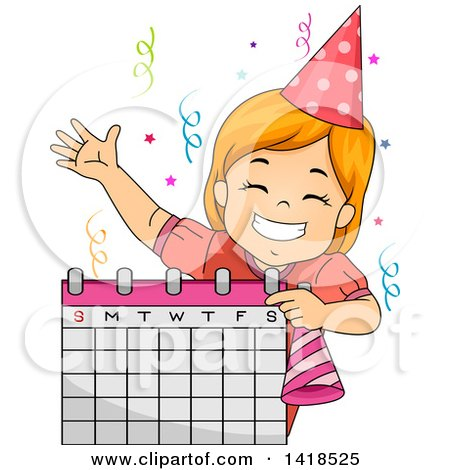 Clipart of a Happy Red Haired Caucasian Girl Scheduling a Birthday Party - Royalty Free Vector Illustration by BNP Design Studio